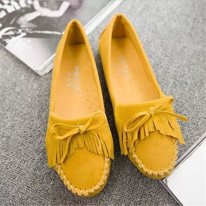 Classique Respirant marron 2017 Nouvelle jaune Chaussure Plus ete Moccasins Mode De Confortable Couleur Femmes Moccasin Durable wqCY44