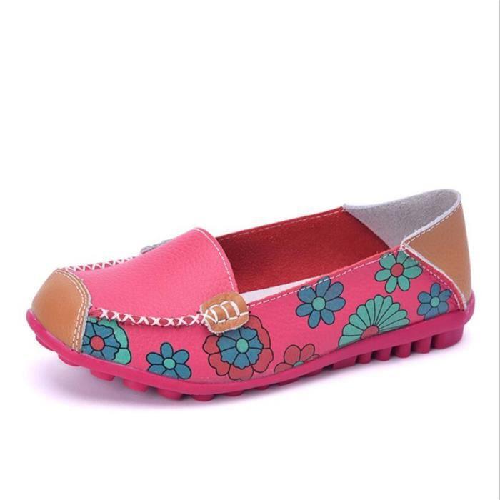 Mocassins Femmes Printemps ete Cuir Chaussures LLT-XZ056Rose39 afy7gA