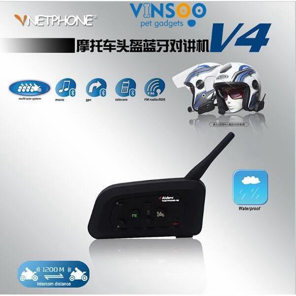 Vinsoo®4 Coureurs 1200 M Fm Full Duplex Bt Bluetooth Casque De Moto Intercom Noise Cancelling Interphone