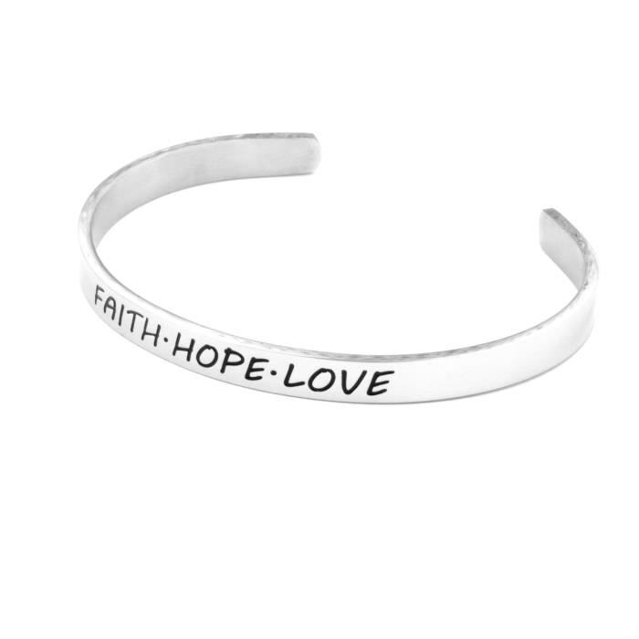 Womens Faith Hope Love Cuff Bangle Bracelet Christian Jewelry Gift For High Polished 316 Stainless YFWS5