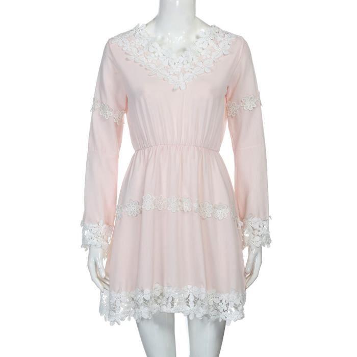 dentelle plage V NYZ09140385 manches Pachasky®Femmes robe fête de mini longues cou de vwaqnxqIH