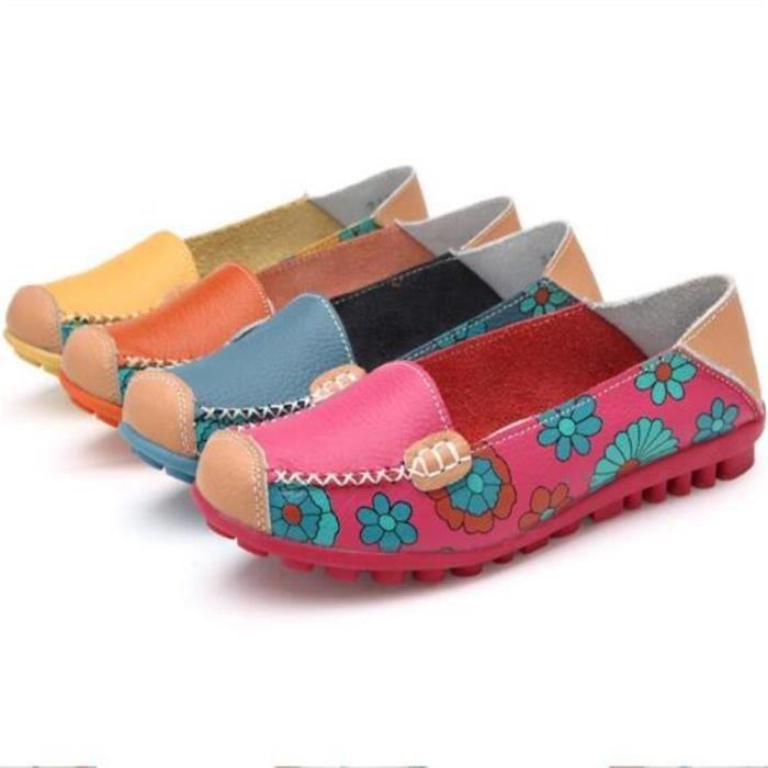 Mocassins Femmes Printemps ete Cuir Chaussures LLT-XZ056Rose39