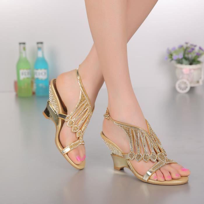 Sandales d'or Nouveau bohême strass cloutés bride cheville compensées chaussures de mariée mariage