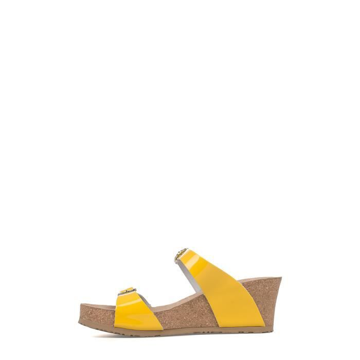 MEPHISTO FEMME LIDIAGIALLO JAUNE CUIR SANDALES MmDdb5vY