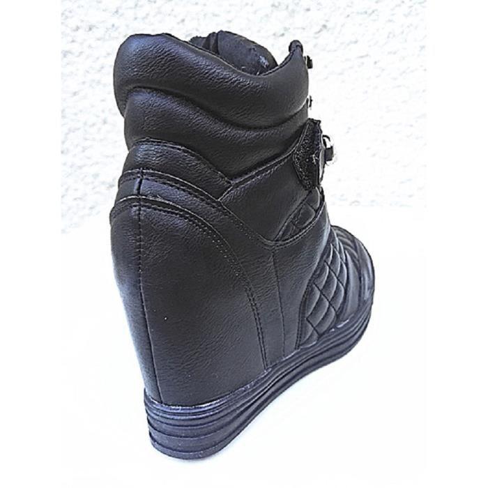 Fashionfolie888 - Femme Baskets compensées montante talon chaussures fille lacet FY8123 NOIR