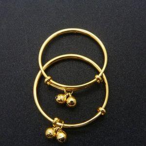 MAILLON DE BRACELET 2 pièces Bracelet bébé or jaune 18 carats remplis