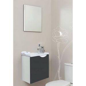 MEUBLE VASQUE - PLAN Meuble lave-mains à suspendre + miroir Vence Anthr