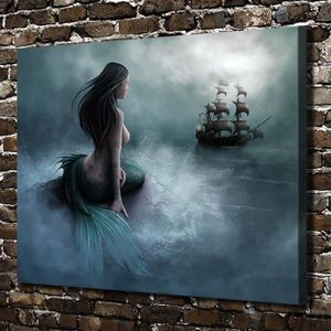 TABLEAU - TOILE Home Décor Oils Paintings Mermaid and Pirate Ship