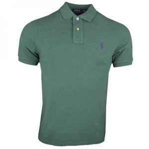 fc0206190b57a9 Polo piqué Ralph Lauren vert logo violet régular pour homme - Taille  S -  Couleur