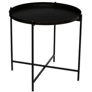 TABLE D'APPOINT Table à café noire en métal - Dim : L.48 x l.48 x