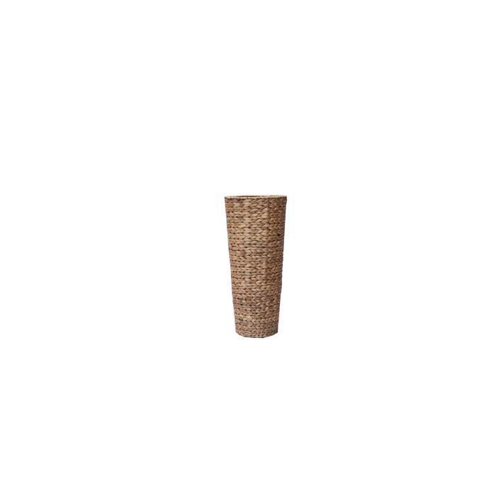 Pot de fleur rond en jacinthe d'eau tressée - 28 x 28 x...