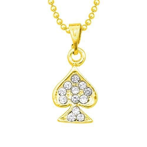 Womens 14k Yellow Gold Plated Rd Cut White Cz Alloy Pendant With Chain J6UAB