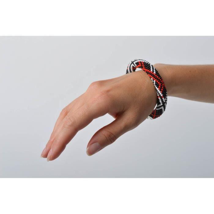 Bracelet Spirale Bijou Femme Accessoire Fait Rouge Noir Blanc Main WEDIY9H2
