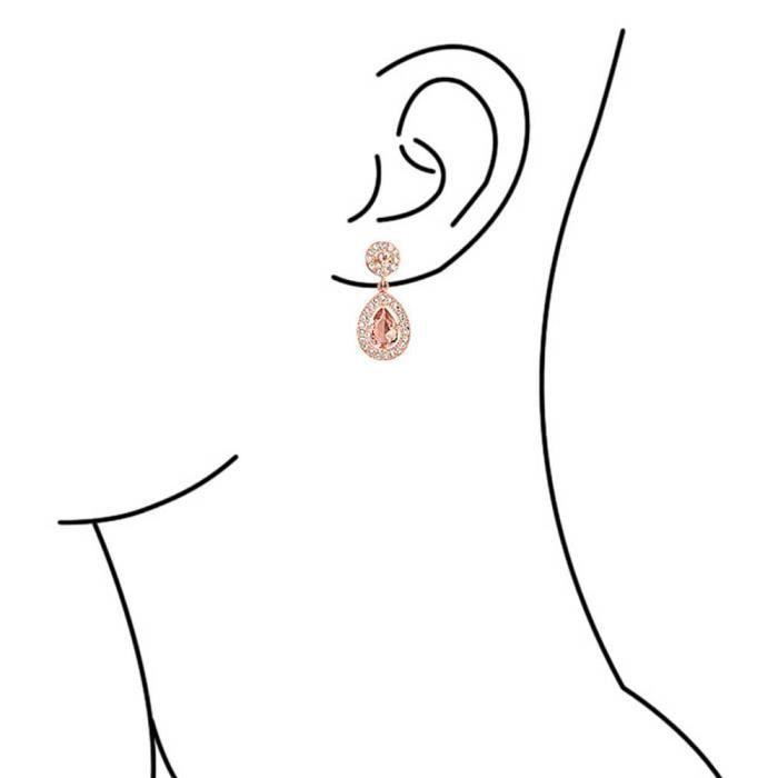 Bling Jewelry plaqué Or Rose Morganite simulées CZ Teardrop Earrings
