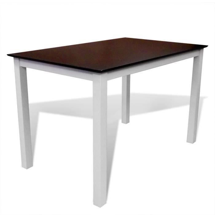 TABLE À MANGER SEULE P34 Table a manger marron/blanc 110 cm en bois mas