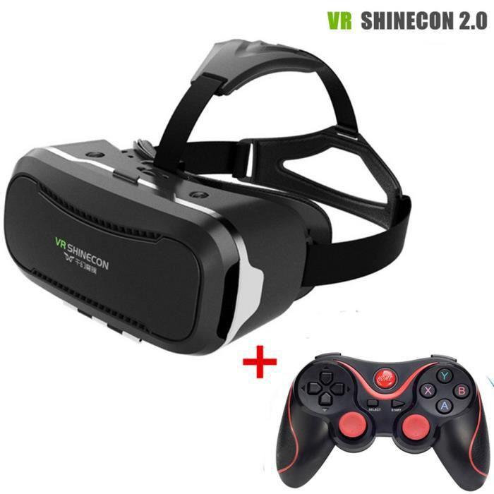 VR SHINECON 2 Casque de Réalité Virtuelle 3D IMAX Vidéo lunettes pour les  Films Jeux 4-6 pouce Téléphones Intelligents + Bluetoot 7e9c6ce3e71c
