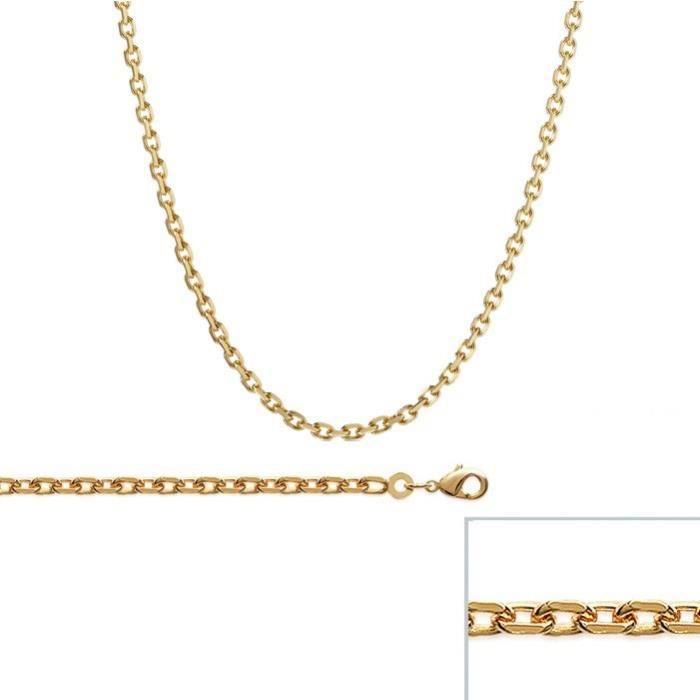 Chaine Plaqué Or maille Forcat largeur 3mm (60 cm)