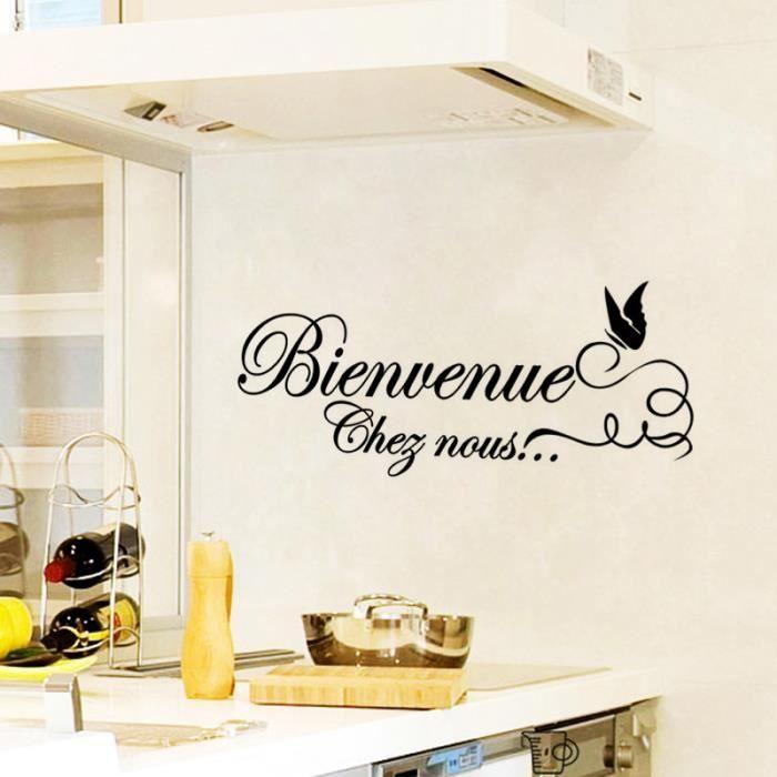 Noire Créative Bienvenue Chef Nous Sticker Mural Pour Cuisine
