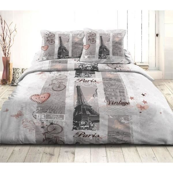 housse de couette 220x240 cm microfibre paris vintage 2 taies d oreiller 63x63 cm 100. Black Bedroom Furniture Sets. Home Design Ideas