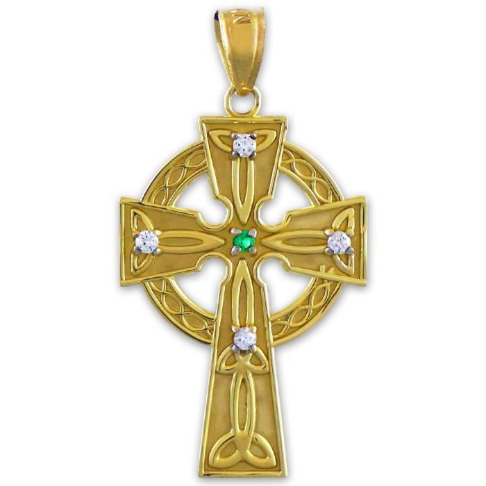 Collier Pendentif14 ct Or 585/1000 Celtique Celtique diamant Croix with Emerald