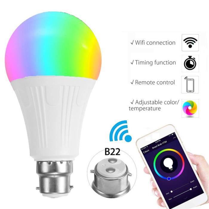 Juce® Couleur Changement 7w B22 Ampoule Led De Télécommande Intelligente Rgb Connectée Wifi PRPqrg
