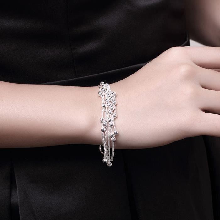 3814efa4d91f7 Plaqué argent 925 Top Qualité Bracelet Femmes Charm