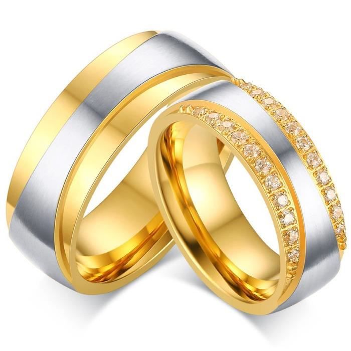 8fcec84f08d Alliance - Solitaire - BOBIJOO Jewelry - Alliance Bague Anneau Doré à l Or  Fin Zirconium Strass