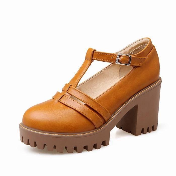 Sandals Femme Affaires Commerciales En PU Cuir Trou de décoration Nouvelle Mode L'automne Plateforme Epais Formel Lacets