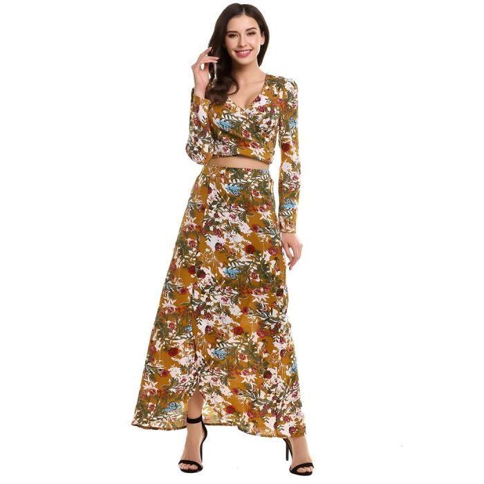 robe costume femme imprimé floral Casual Style rétro col v manches longues