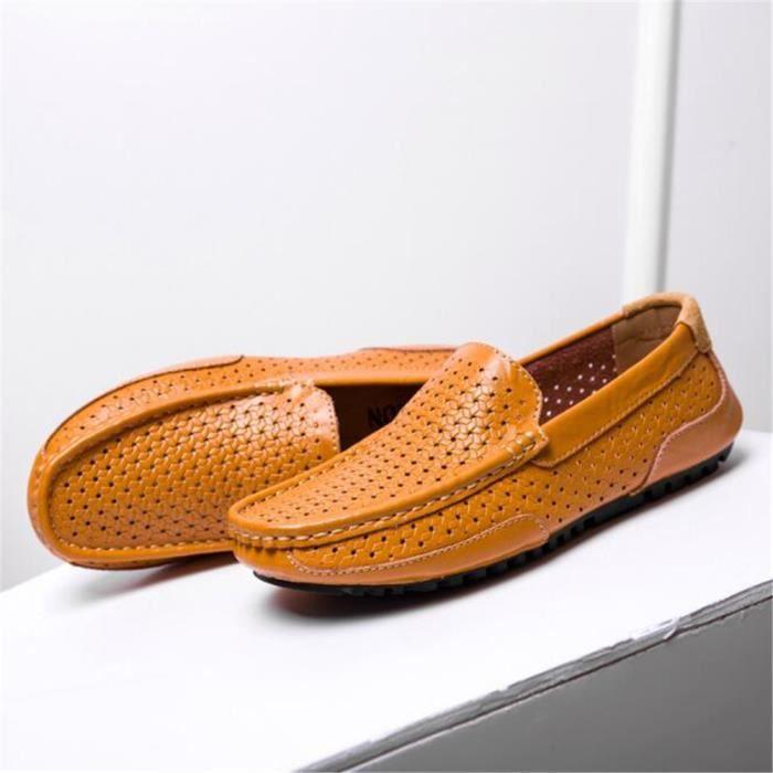 Moccasins homme En Cuir perforé Nouvelle Mode Chaussure hommes Marque De Luxe Loafer Grande