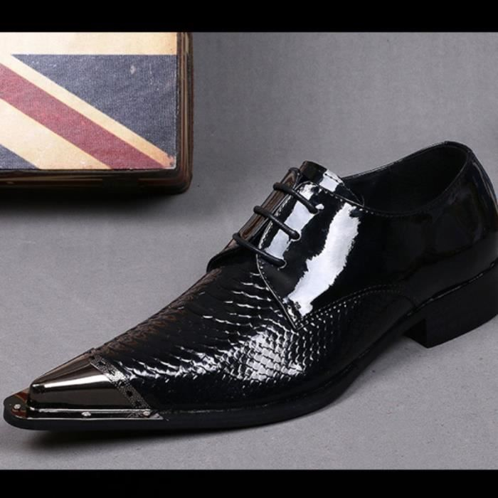 Plus Size 38-46 Nouveau Confort Geniune cuir formelle Hommes Mode Chaussures de peau serpent mariée