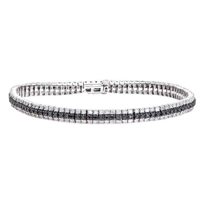 Revoni - Bracelet en or blanc 9 carats et diamants blancs et noirs total 3,33 carats- REVCDPBC02543WBLKDIA