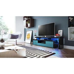 Meuble tv bleu laque achat vente meuble tv bleu laque - Meuble bleu petrole ...