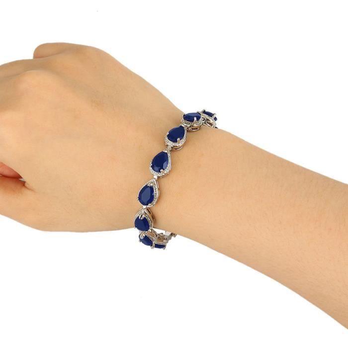 Ever Faith-Cubic Zirconium Larme Bracelet Bleu Foncé Plaqué Argent Femme N02872-5