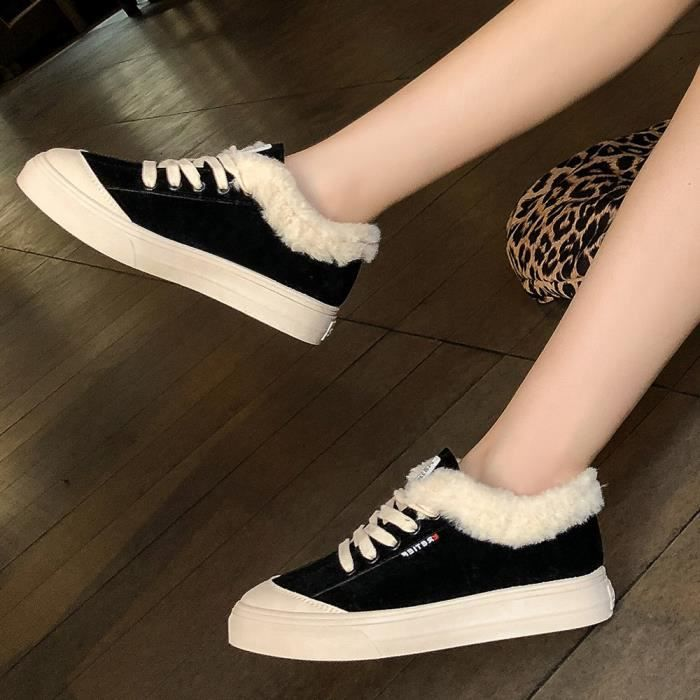 Respirants En Cross tied Chaussures Sauvages Sneakers Courtes Peluche Bl090804111219 Cuir Femme xaPgq