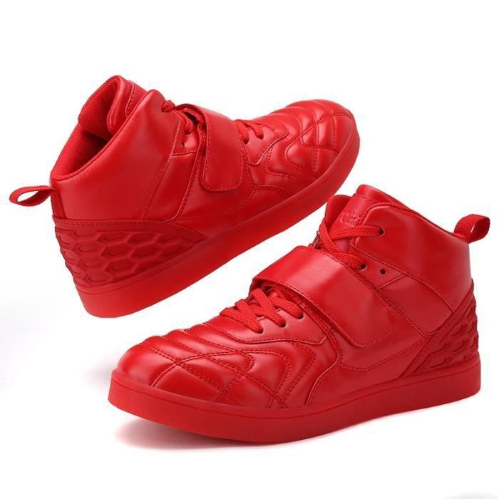 Botte Homme en cuir Velcro chaud rouge taille40
