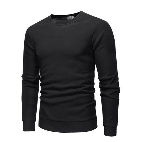 225b359d66 Homme manches longues vêtement col rond sweat-shirt peluche épais hiver  chaud casual sweat-shirt Noir Noir - Achat / Vente sweatshirt - Cdiscount