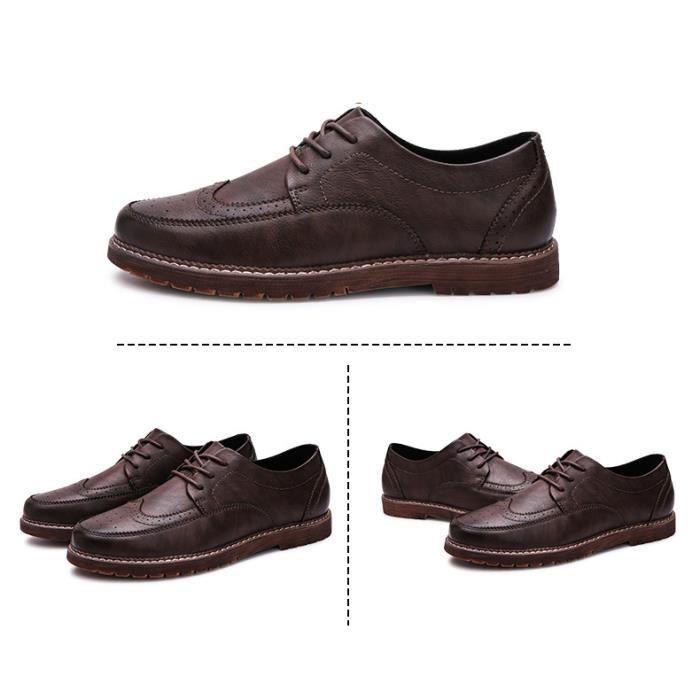 Chaussures Hommes Cuir Qualité Supérieure Respirant Homme chaussure de ville BBZH-XZ204Rouge38