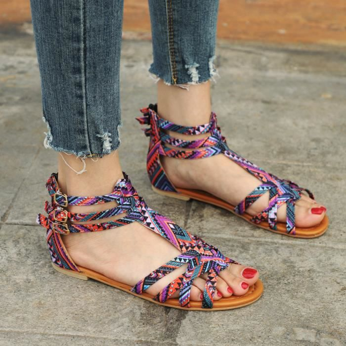 Bohême Violet Chaussures Style Sandales Femmes Flats Strap Boucle Ethniques Pagwx6q