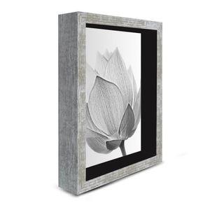 TABLEAU - TOILE Tableau déco cadre vitrine18x24 - Fleur noir et bl