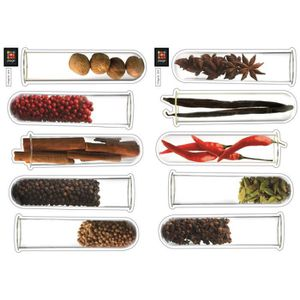 PLAGE Stickers adhésif mural Taille S - Spicy tubes2 planches 29,7 x 21 cm, divers motifs