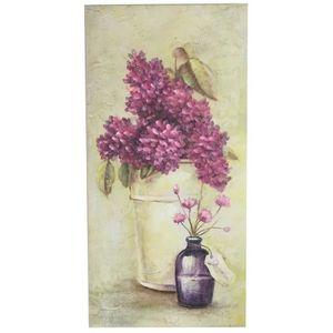 TABLEAU - TOILE Tableau Cadre en Bois Peint Fleur Mural Hortensia