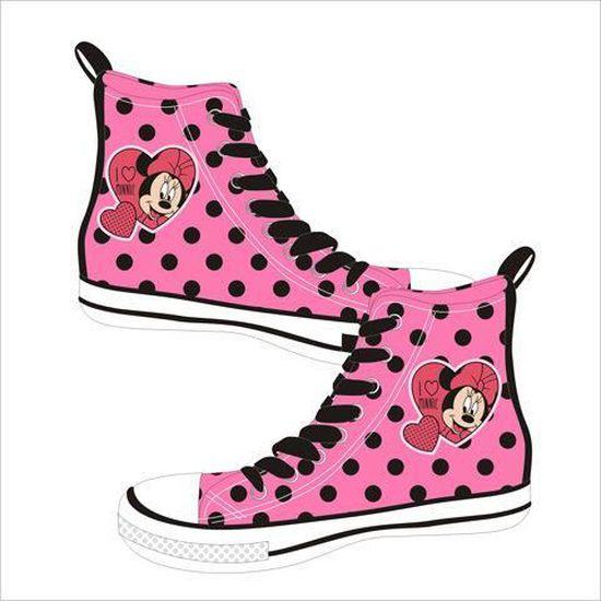 Basket filles en toile Minnie Mouse 35 chaussures montantes Disney rose à  pois noir Rose rose - Achat   Vente basket 2009913246107 - Cdiscount 5a290d6da475