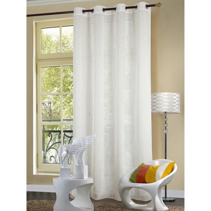 voilage uni 140x260 cm blanc ebay. Black Bedroom Furniture Sets. Home Design Ideas