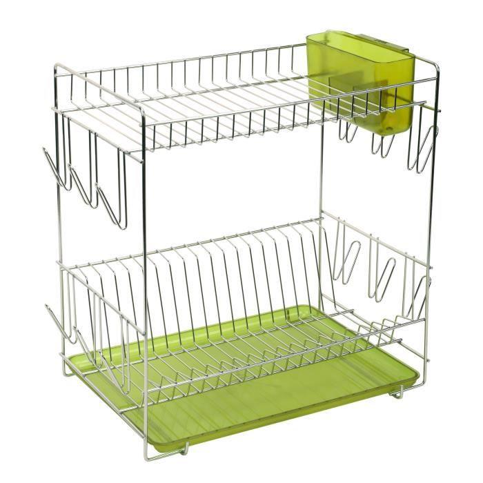 SAUVIC Égouttoir à vaisselle inoxydable avec plateau - Grand modèle - Vert