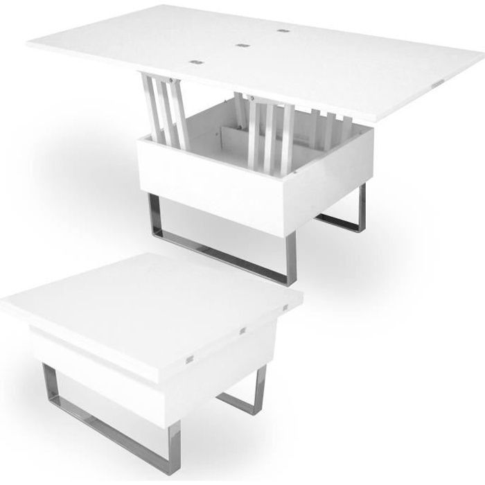 table basse relevable multifonction woods laquÉe blanche - achat