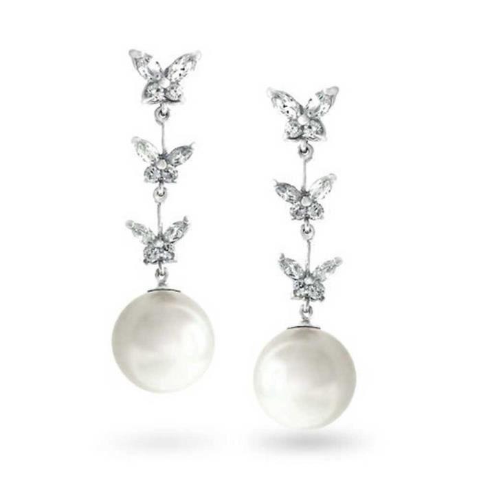 Blanc Perle Simulé Cz Boucles doreilles papillon en laiton rhodié Femmes GYC9O