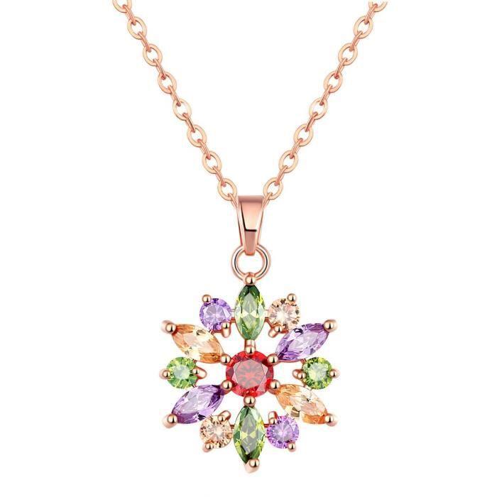 Femmes Bijoux Multicolor Aaa Zircon 18k or rose floral pendentif pour EtWA7QT