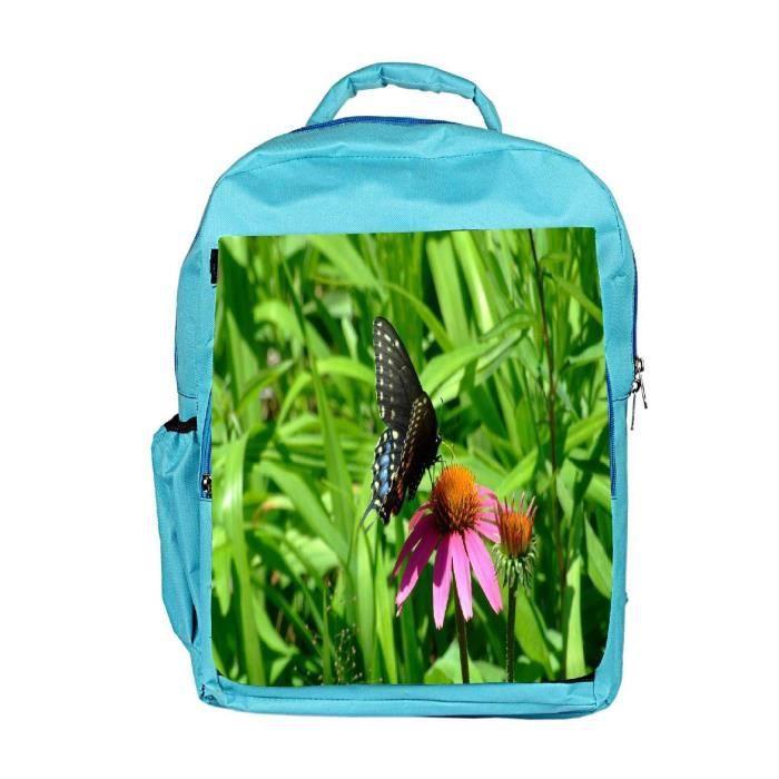 Eco Friendly Hommes Toile Papillon Noir en rose Fleur Designer Sac à dos Rucksack école Voyage U AN3S8