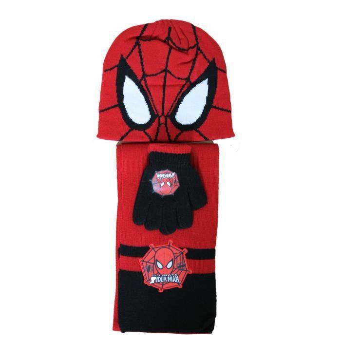 Ensemble bonnet gants écharpe spiderman rouge et noir Rouge rouge ... cad9bfb0cc9